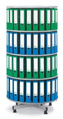 Deskin Ordner-Drehsäule 4 Etagen bis zu 144 Ordner, 1000mm Ø x 1670mm Höhe