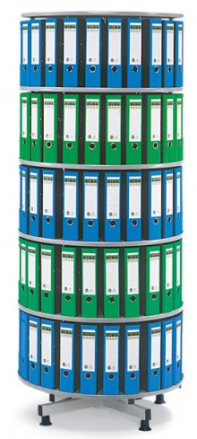 Deskin Ordner-Drehsäule 5 Etagen bis zu 180 Ordner, 1000mm Ø x 2030mm Höhe
