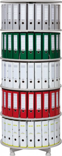 Deskin Ordner-Drehsäule 5 Etagen bis zu 120 Ordner,Ø 800mm,einzeln drehbare
