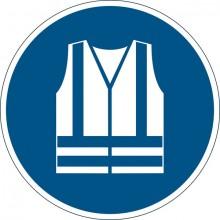 """Sicherheitskennzeichen """"Warnweste benutzen"""", blau, Ø 43cm,"""
