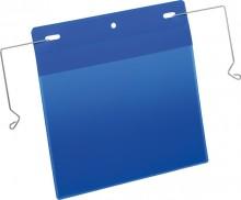 Drahtbügeltasche A5 quer blau PP Außenformat Tasche: 223x218mm