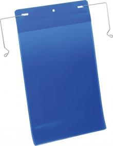 Drahtbügeltasche A4 hoch blau PP Außenformat Tasche: 223x368mm