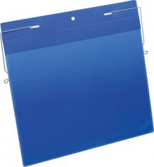 Drahtbügeltasche A4 quer blau PP Außenformat Tasche: 311x280mm