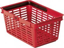 Einkaufskorb mit großem Tragegriff stapelbar, Griff klappbar,19 Liter, rot