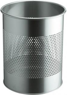 Metall Papierkorb rund, 14,7 Liter hoch silber,aus perforiertem Stahl