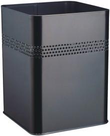 Metall Papierkorb viereckig 18,5L schwarz, mit perforiertem