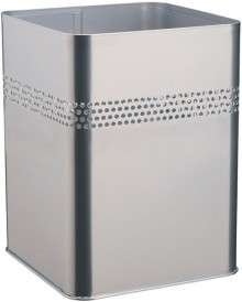 Metall Papierkorb viereckig 18,5L silbermetallic, mit perforiertem