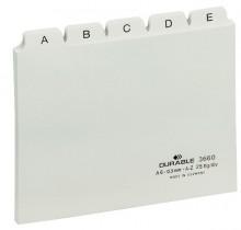 Leitkartenregister A6, A-Z, weiß geprägte Taben