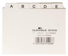 Leitkartenregister A7, A-Z, weiß geprägte Taben