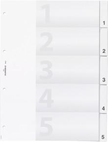 Kunststoff-Register, A4 5-tlg.,transparent