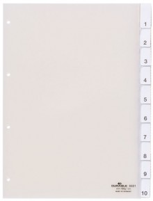 Kunststoff-Register, A4 10-tlg.,transparent