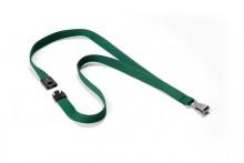 Textilband 15 mm für Namensschilder dunkelgrün, mit 12 mm Karabinerhaken