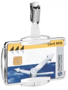 Ausweishalter für 1 Karte, drehbarer Clip für Hoch- und Querformat
