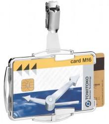 Ausweishalter für 2 Karten, drehbarer Clip für Hoch- und Querformat