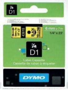 Schriftband 6mm/7m, DYMO 43618, schwarz auf gelb
