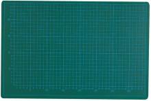 Schneidematte, 30x22cm, grün/schwarz 5-lagig, bedruckt mit 10-und 50mm