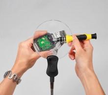 LED-Tisch-Standlupe mit flexiblem Halter, Ø 107 mm,Vergr.2x/Ø 18 mm,