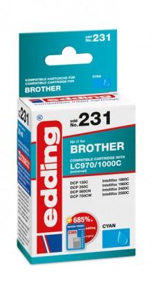 Edding Tinte 231 Brother LC970, 1000 cyan, Ersetzt: Brother LC970C/