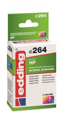 Edding Tinte 264 HP 300XL farbig Ersetzt: HP CC644EE, No.300XL