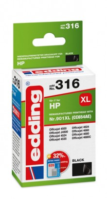 Edding Tinte 316 HP 901XL black Ersetzt: HP CC654AE, No.901XL