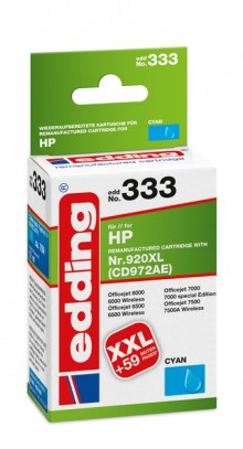Edding Tinte 333 HP 920XL cyan Ersetzt: HP CD972AE, No.920XL