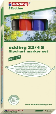 EcoLine Flipchartmarker # 4-32-4 Keilspitze, 1-5mm , 4er-Etui