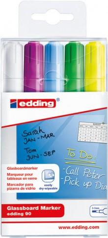 Glasboardmarker 2-3 mm Rundspitze, sortiert, lichtbeständig, abwischbar