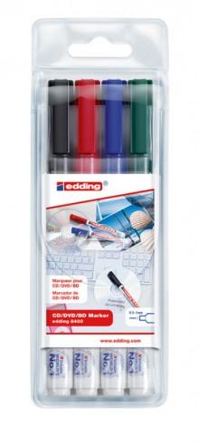 CD-Marker 4er Etui - sortiert, 0,5 - 1mm,Farben schwarz, rot, blau, grün