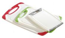 3-tlg. Schneidbrett-Set, weiß, Kunststoff mit farbigem Rand