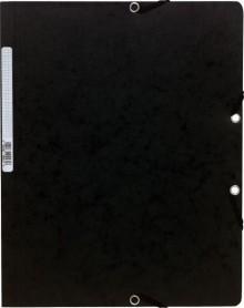Sammelmappe/Eckspannermappe A4+ 400g Manila schwarz m. Gummiband o. Klappen