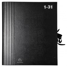 Fächermappe 1-31, A4, schwarz, mit dehnbarem Rücken und Band