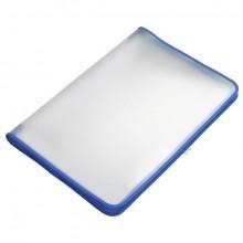 Transparent-Portfolio, A3, blau, Folie matt, mit Textil-Reißverschluss