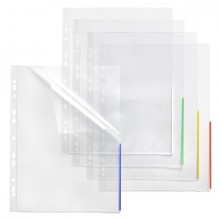 Index Sichthülle, PP, A4, EURO-Lochung transparent, Indexstreifen grün,