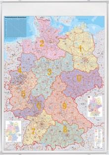 Kartentafel PLZ 138 x 98cm, Deutsch- land, pinnbar, 1:750.000, 98x138 cm,