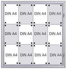 Schaukasten Metall/weiß, 12xA4, Sichtmaß: 88 x 92,2cm, Außenmaß:
