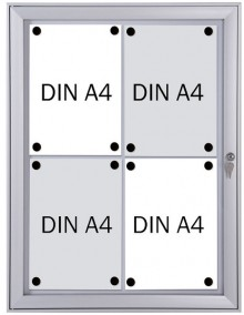 Schaukasten Metall/weiß, 4xA4, Sichtmaß: 44 x 61,5cm, Außenmaß:
