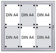 Schaukasten Metall/weiß, 6xA4, Sichtmaß: 66 x 61,5cm, Außenmaß: