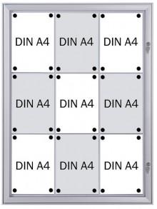 Schaukasten Metall/weiß, 9xA4, Sichtmaß: 66 x 92,2cm, Außenmaß: