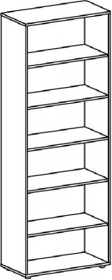 Regal 6 OH m. Standfüßen Ahorn/Ahorn 800x400x2160 Flex