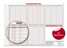 Urlaubsübersicht f 60 Mitarbeiter 2020 120x80cm, 15 Monate # 12-80