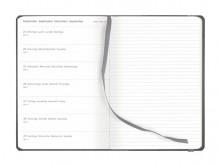 Wochenkalender mit Notizen, 13x21cm 1Woche/1Seite, Einband Tucson grau