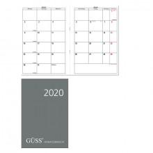 Güss Monatsübersicht, DIN A5, schwarz 1 Monat auf 2 Seiten, 2farbiger Druck