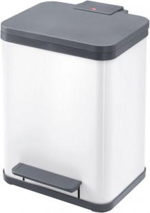 Tret-Mülltrenner Öko duo plus M weiß, 2 x 9 Liter, herausnehmbare