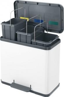 Tret-Mülltrenner Öko trio plus L weiß, 3 herausnehmbare Inneneimer