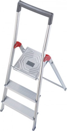Alu-Sicherheits-Stehleiter L60 StandardLine, 3 Stufen, Rutschsichere Steckfüße