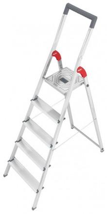 Alu-Sicherheits-Stehleiter L60 StandardLine, 5 Stufen, Rutschsichere Steckfüße