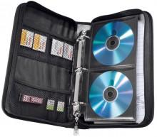 CD Reißverschlusstasche für64 CDs Nylon blau/schwarz