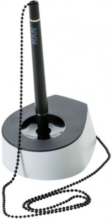Stifteständer SALSA, mit Kette, schwarz/lichtgrau