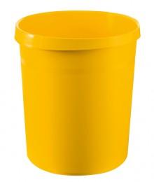 Papierkorb GRIP mit Rand, 18 l, gelb, 2 Griffmulden, extra stabil