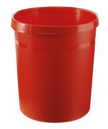 Papierkorb GRIP mit Rand, 18 l, rot, 2 Griffmulden, extra stabil
